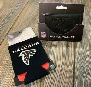 Brand New Mens Atlanta Falcons Premium Black Leather Wallet & Can Koozie Set