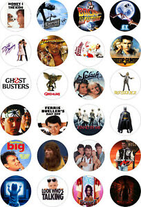 24 1980s 80s movies films precut Cupcake Standing Toppers Rice Wafer Card Edible