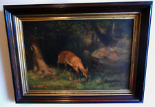 """Antique 1870s Colton Zahm & Roberts Chromo on Canvas """"An American Deer"""" by Beard"""