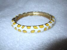 Kenneth Jay Lane Bangle Bracelet White Yellow Spots Enamel Hinged 2006 --Superb!