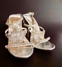 Dripping Rhinestones Bakers Silver Ankle Strap Sandal Stiletto Heels 7