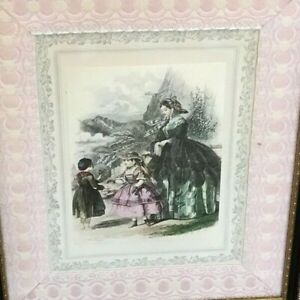 Early French Coloured Fashion Plate Framed Jules David Braided Cloth Border Art