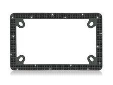 Bling 2 Row Motorcycle BLACK Real Crystal Embedded Black License Plate Frame