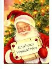 Santa Claus w/ Merry Christmas Package-German-Lisi Martin Holiday Postcard