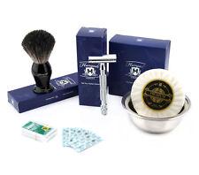 4 PZ Uomo Set da barba con de Rasoio di Sicurezza, Pennello Pelo di Tasso puro, Ciotola per sapone &