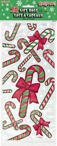 CHRISTMAS PARTY SUPPLIES 20 x CANDY CANE LOLLY & GIFT BAGS FOR PRESENTS & SWEETS