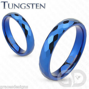 4mm Tungsten Carbide Wedding Engagement Bridal Band Blue IP Prism Cut Ring