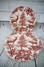 RARE! Pottery Barn ALPINE TOILE Set Of 4 Country French Stag DINNER PLATES Red