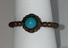 ALE Pandora Sterling Silver Beaded Ring W/ Turquoise SZ 7.5
