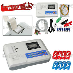 FDA Digital 1 Channel 12 Lead ECG EKG Machine Electrocardiograph,Printer