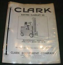 Clark Electric Clarklift 20 Forklift Maintenance Parts Manual Book Catalog