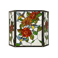 Tiffany Style Floral Stained Glass 3-panel Fireplace Screen