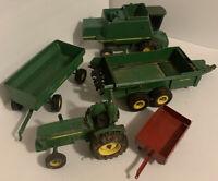 Vintage LARGE ERTL John Deere Lot Toy Tractor Farm Equipment Diecast Lot (Read)