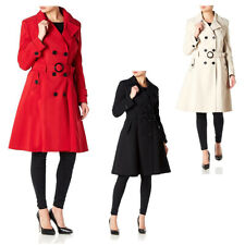 Women's Designer Ladies Double Breasted Trench Mac Long Coat