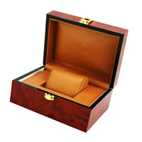 Luxury Wine Red Wooden Box Watch Collection Single Slot Wristwatch Showcase