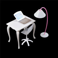 Dollhouse Furniture Desk+Lamp+Laptop+Chair Play house Prop FT