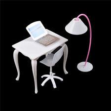 Barbie Dollhouse Furniture Desk+Lamp+Laptop+Chair Play house Prop Hot!