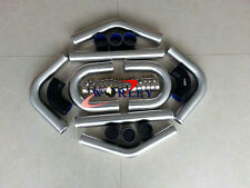 "3"" 76mm Aluminum Universal 8pcs Intercooler Turbo Piping black hose T-Clamp kits"
