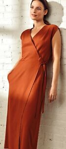 NWT $228 Eileen Fisher DEEP PEKOE Washable Crepe Wrap Front Jumpsuit S M L