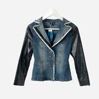 Women's Denim Faux Leather Jacket Ariella Size Small Cotton Long Sleeve New