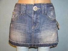 NEW Aeropostale Junior Girls Distressed Denim Blue Jean Mini Skirt 3/4