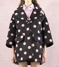 BNWT Italian VIVETTA Aurelio Black Pink polka dot coat jacket scuba IT 40 42