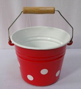 Enamel Table Pail, Children Bucket, Ice Kücheneimer Red White Spots 67.6oz