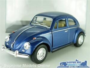 VOLKSWAGEN VW BEETLE MODEL CAR 1967 1:32 SCALE DK BLUE + DISPLAY CASE KINSMART K
