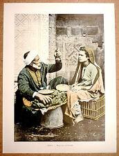 MARCHAND DE BANANES en Égypte - Photochromie fin 19ème  gravure