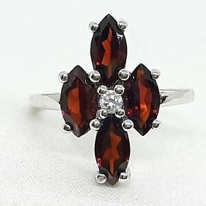 World Class 2.35ctw Garnet & Diamond Cut White Sapphire 925 Silver Ring Size 7