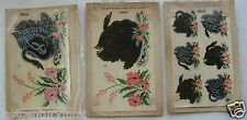 3- Sets Duro Decals 1950's Unused Swans & Flower's 393A/393C/411A