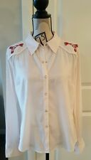 SZ L Large MODA Button-Up Long Sleeve Blouse Cream W/ Embroidery Western