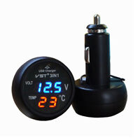 12/24V Car Digital USB Charger/Thermometer/Voltmeter USB Port 2.1A LED Monitor