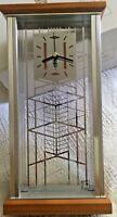 CLOCK Frank Lloyd Wright Robie House Art Glass Design BULOVA NEW Shelf Mantel