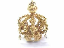 """18Kt Citrine & Pearl Yellow Gold Crown Pendant 1.5"""" 15.00CT"""