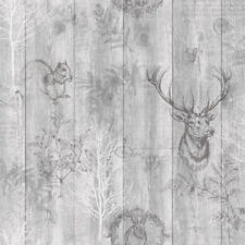 Stag Wallpaper Animal Print Wood Panel Grains Trees Leaves Grey Holden Decor