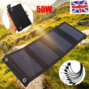 50W USB Solar Panel Folding Power Bank Outdoor Camping Hiking Phone Charger UK