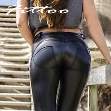 Women's PU Leather Trousers Stretchy Push Butt Lift Pants Skinny Tight Leggings