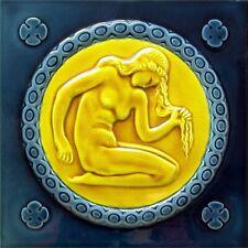 Art Nouveau Vintage Ceramic Tile Azulejo German Trivet Majolica Reproduction