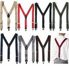 Mens Womens Elastic Suspenders Leather Braces Y-Back Adjustable Clip-on 8Colors
