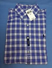 NWT Men's Polo Ralph Lauren SS Med 100% Cotton Stretch Shirt Blue Polo SS M