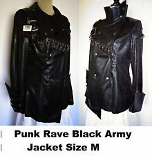 Punk Rave Black Army Embellished Jacket Leather Looking Polyester Halloween Sz.M