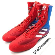 Adidas Box Hog Plus Boxing Shoes Sparring Boots Da9896 Men's 12 Red Blue New