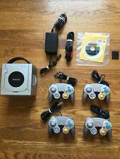 Platinum Nintendo Gamecube Lot Bundle w/ 4 Controllers & Mario Kart Double Dash
