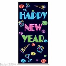 HAPPY NEW YEAR DOOR COVER POSTER PARTY WALL DECORATION HORNS CLOCKS DRINKS