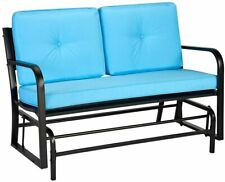 Aecojoy Outdoor Patio Glider Bench Swing Chair Rocking Bench with Blue Removable
