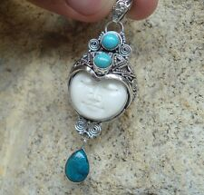 925 Sterling Silver-IL-149 BALINESE GODDESS PENDANT W TURQUOISE NEW
