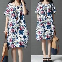 ZANZEA Women Summer T-Shirt Dress Floral print Ethnic Baggy Shirt Dress Plus