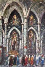 """Salomon le Tropézien. """"Intérieur d'église """"Huile sur panneau """" ; v 532"""