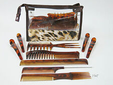 Comb Set - Tortoise Pattern College kit Backcombing Barber Tail Comb Clips Case